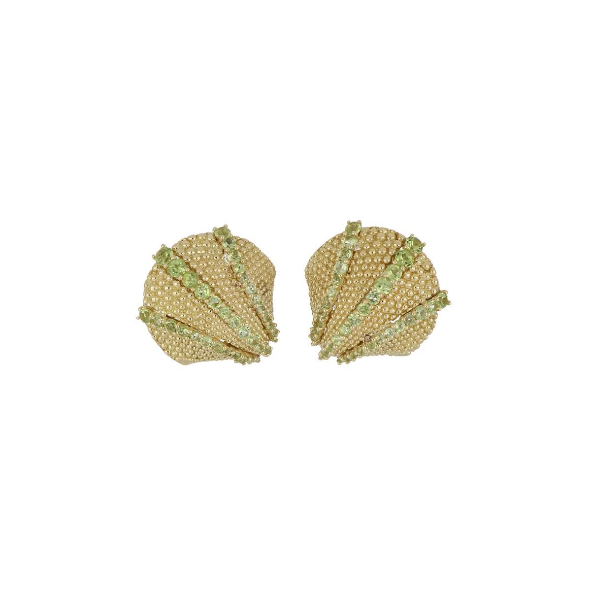 Yellow Gold and Peridot Seashell Earrings