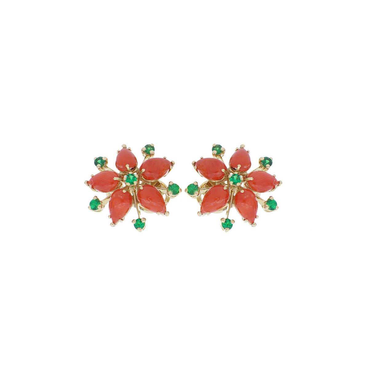 Coral Flower Earrings with Tsavorite Accents