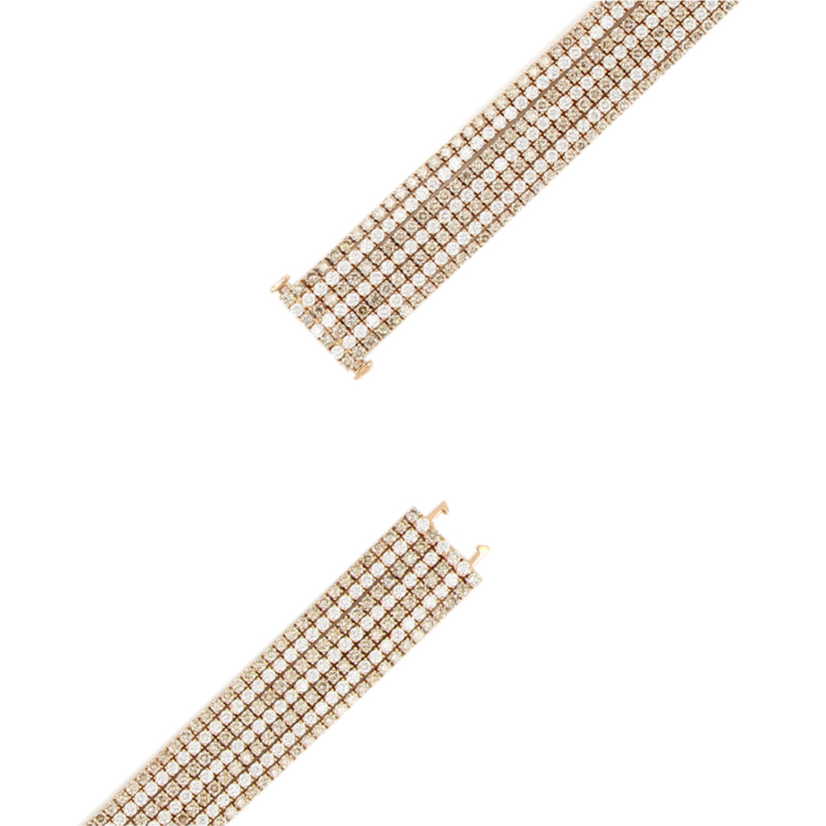 Wide Link Bracelet with White and Brown Diamonds