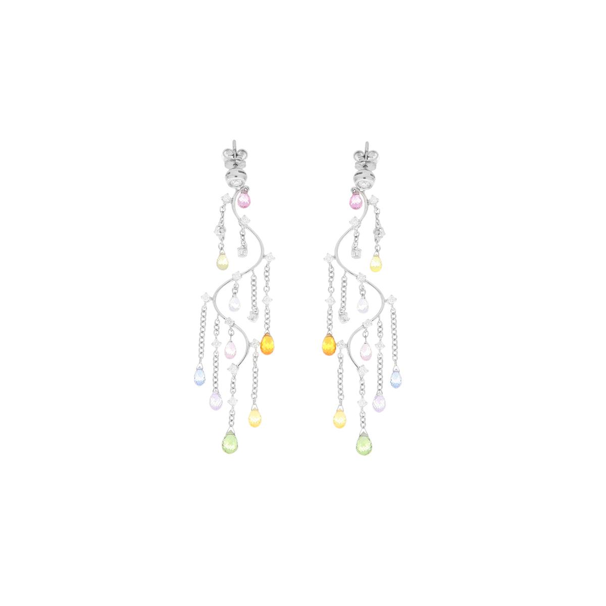 Multucolor Sapphire Wave Earrings