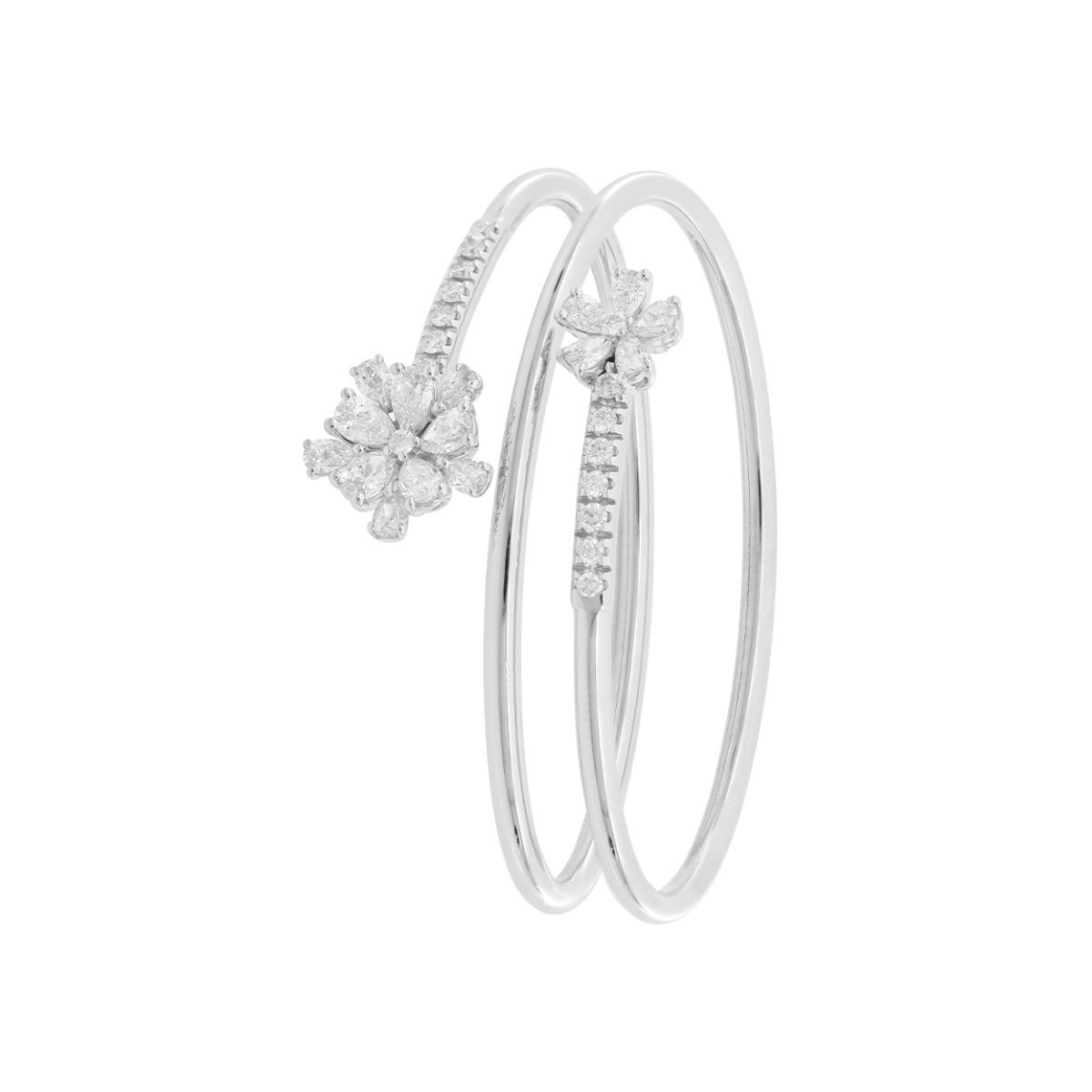 Adjustable Triple Spiral Bracelet With Diamond Flowers