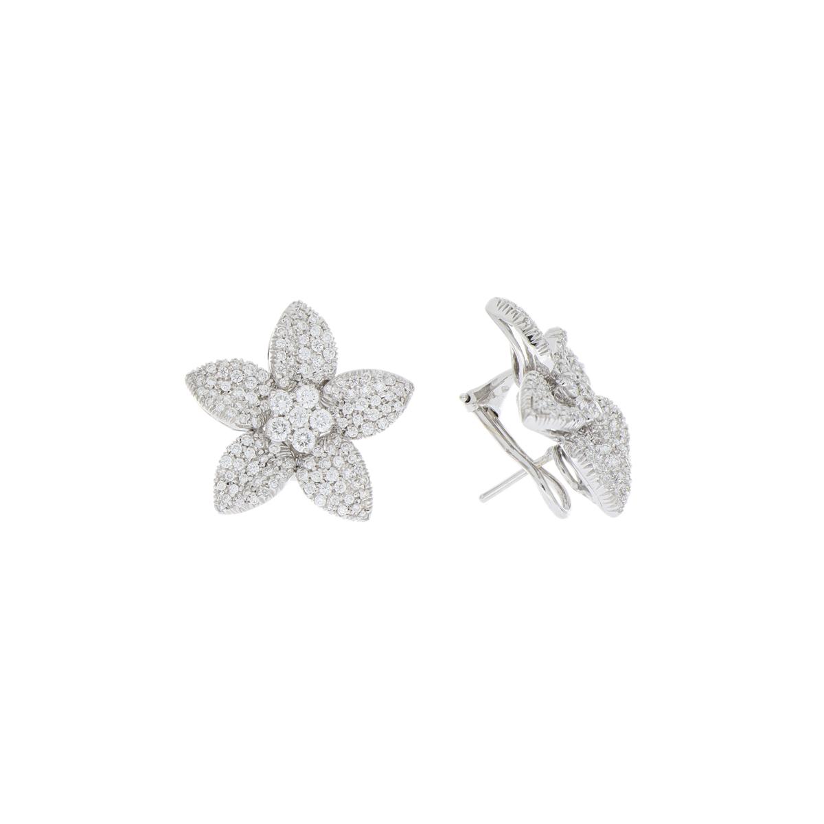Diamond-Pavé Flower Earrings