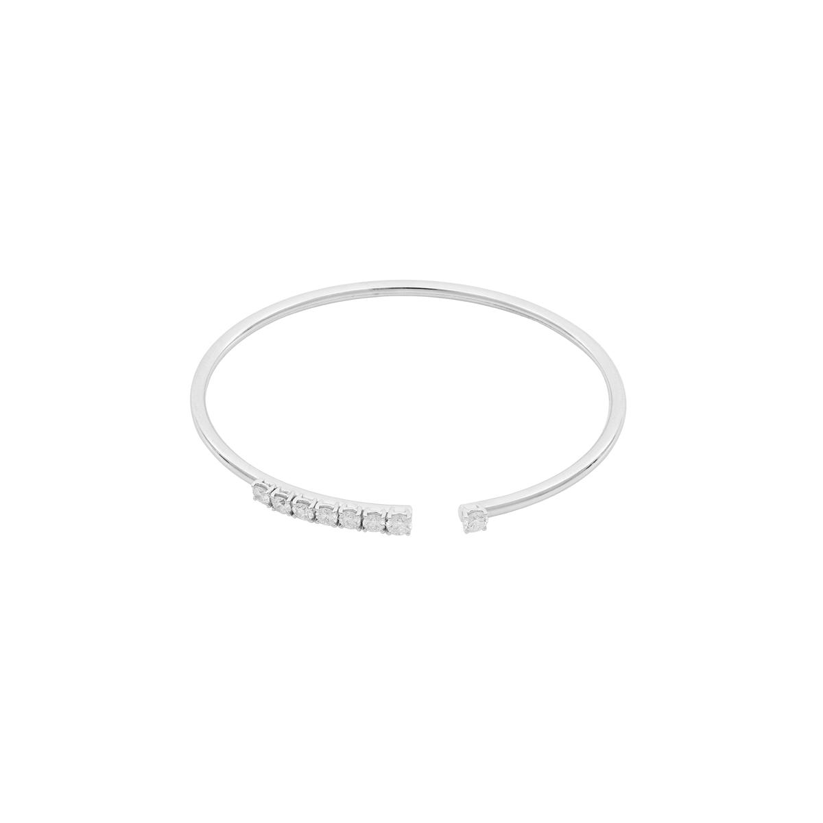 Fine White Gold Diamond Open-Cuff Bangle Bracelet