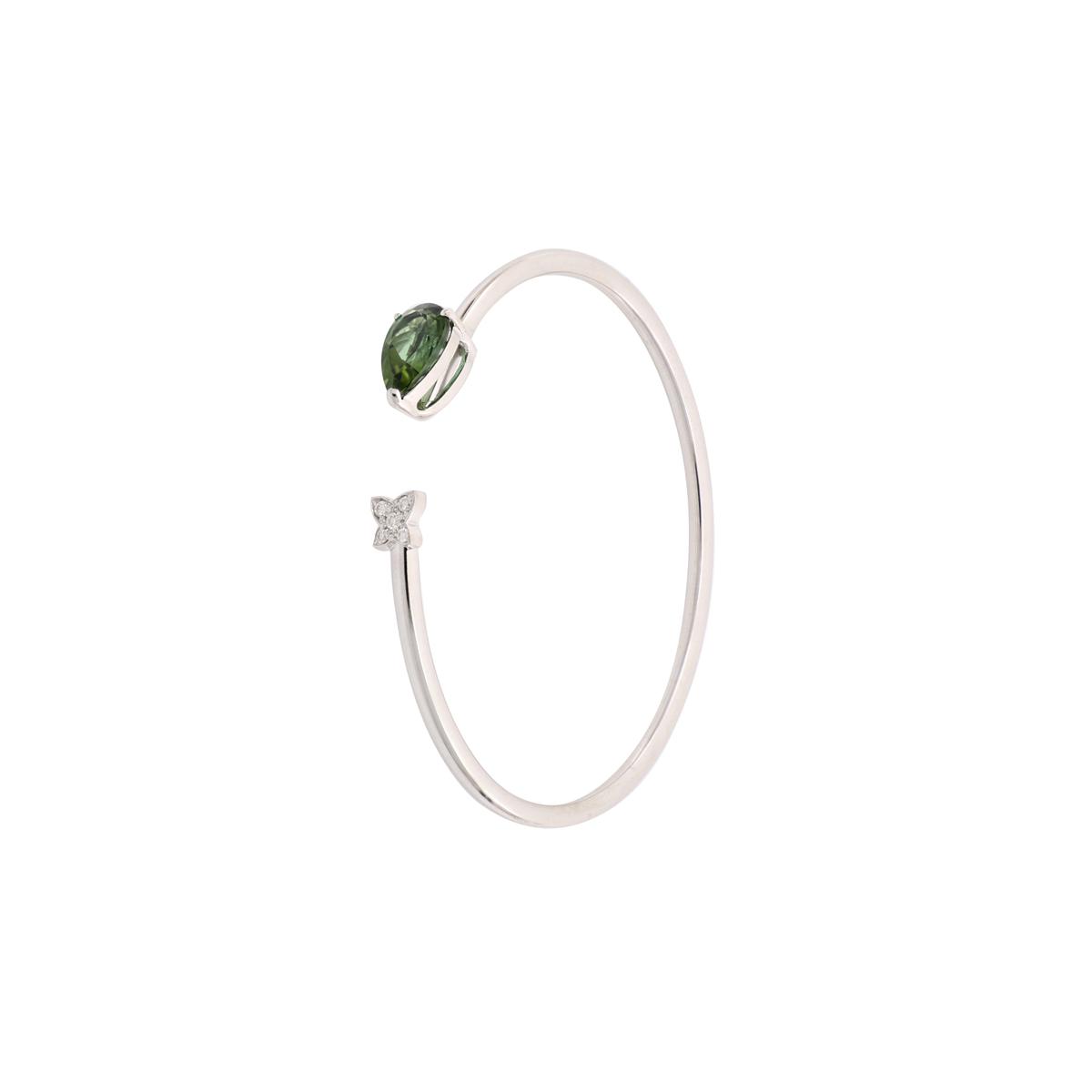 Green Tourmaline Open-Cuff Bangle Bracelet