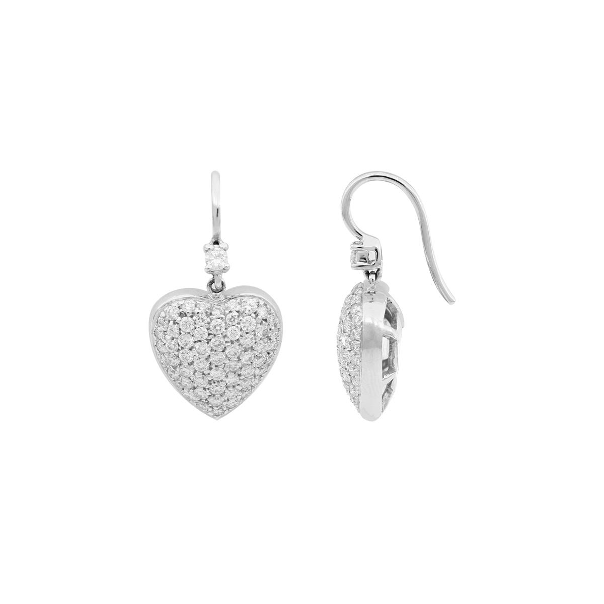 Heart Diamond-Pavé Earrings