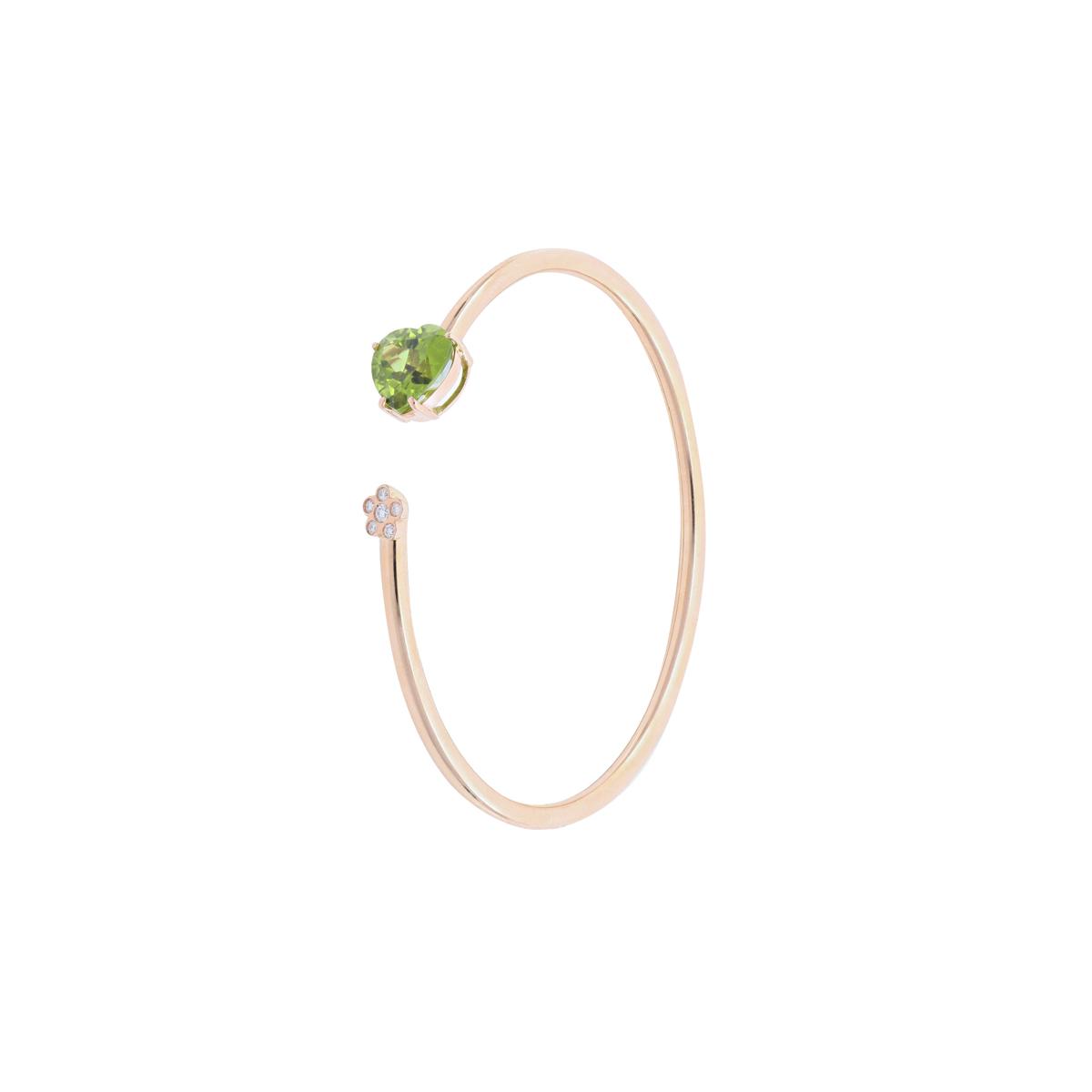 Peridot and Diamond Open-Cuff Bangle Bracelet