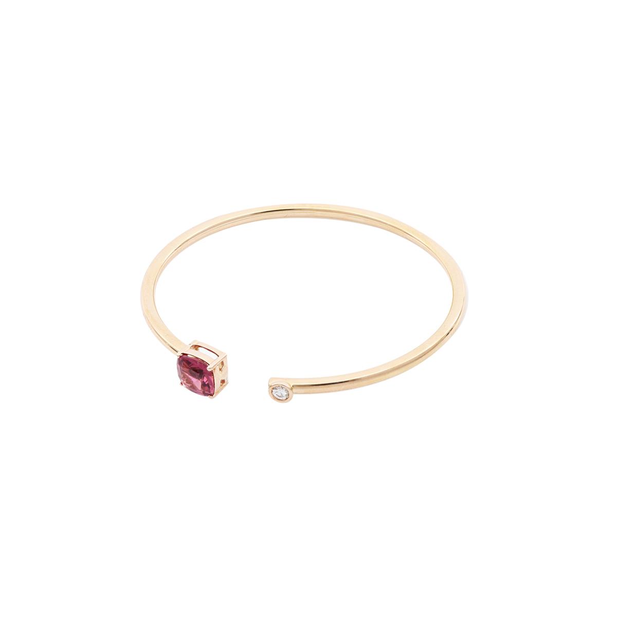 Pink Tourmaline Open-Cuff Bangle Bracelet
