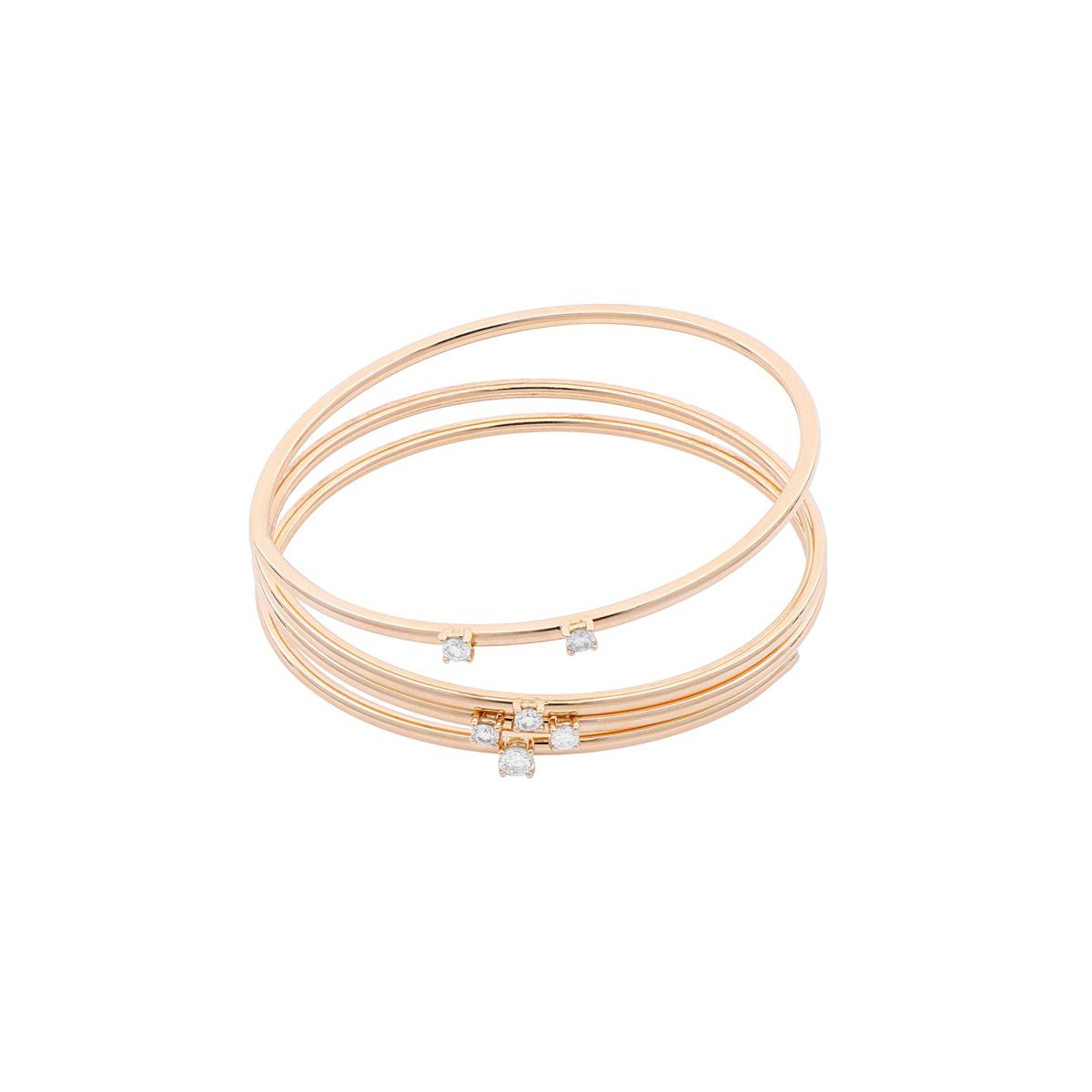 Red Gold Spiral Bangle Bracelet with Diamonds