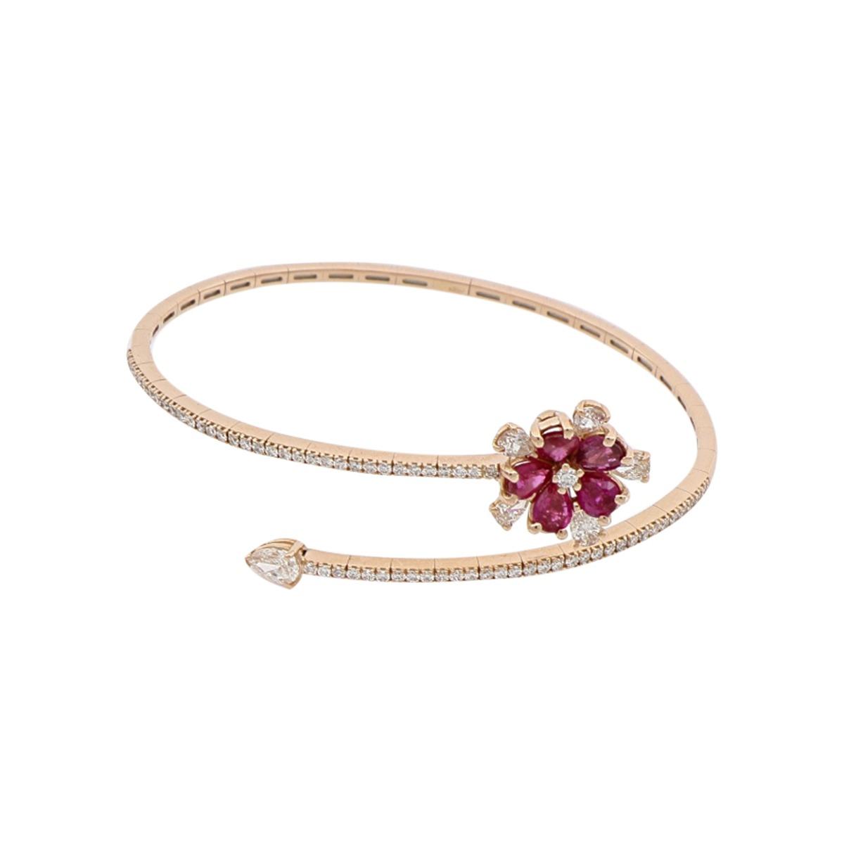 Ruby and Diamond Flower Spiral Bracelet