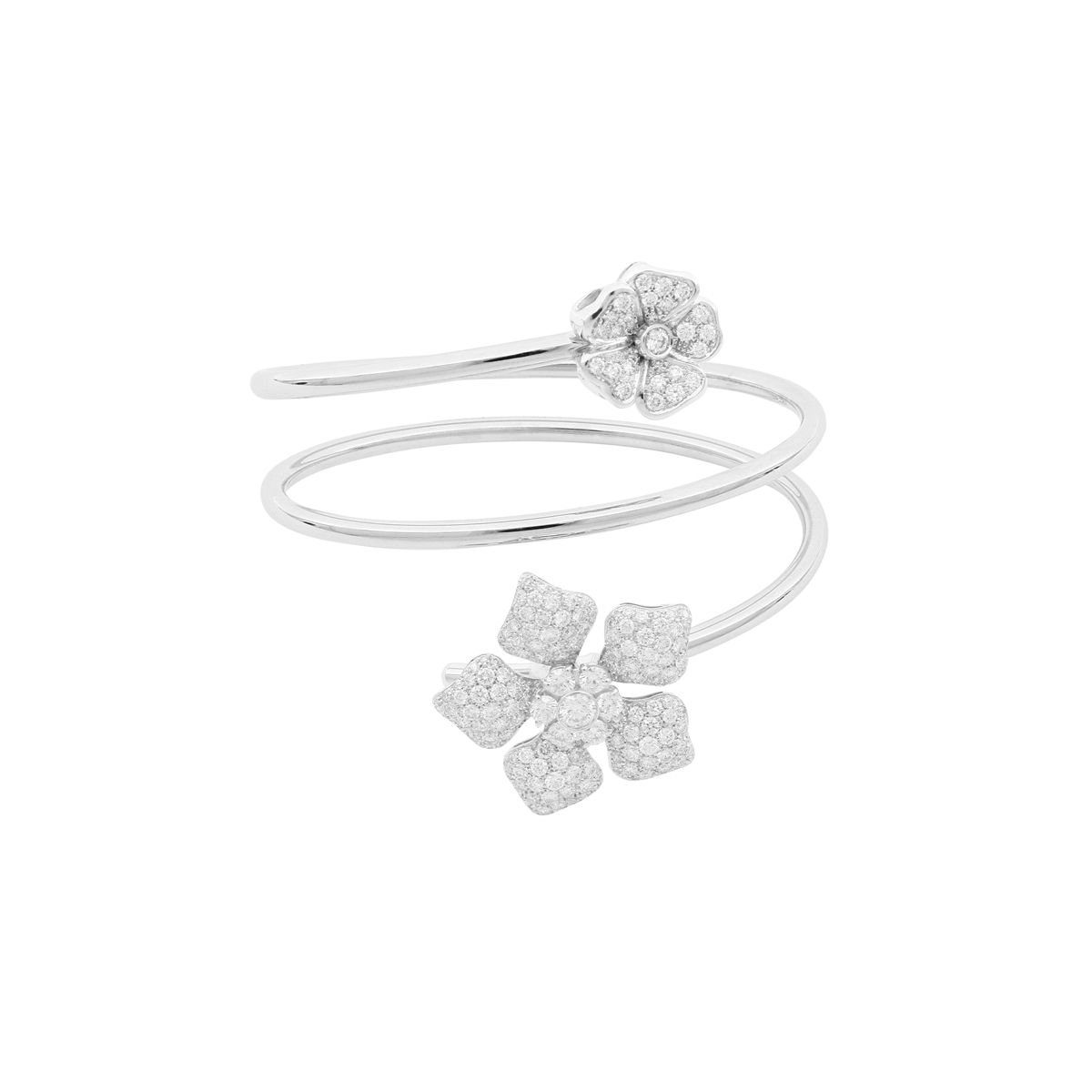 Two Diamond Flower Spiral Ring in White Gold