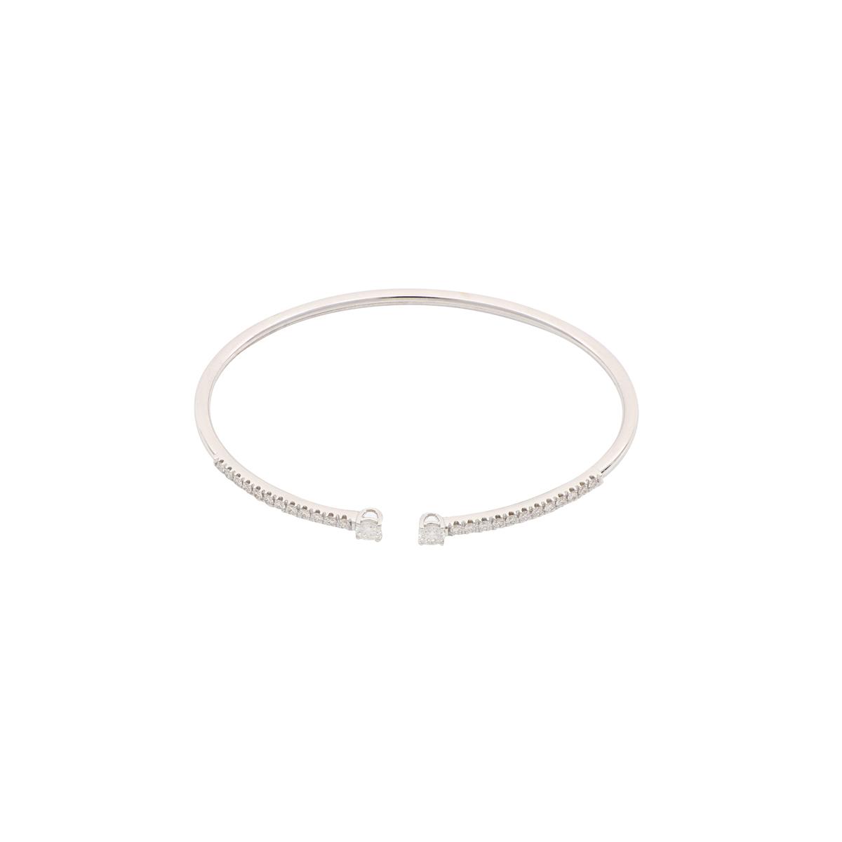 White Gold Diamond Open-Cuff Bangle Bracelet