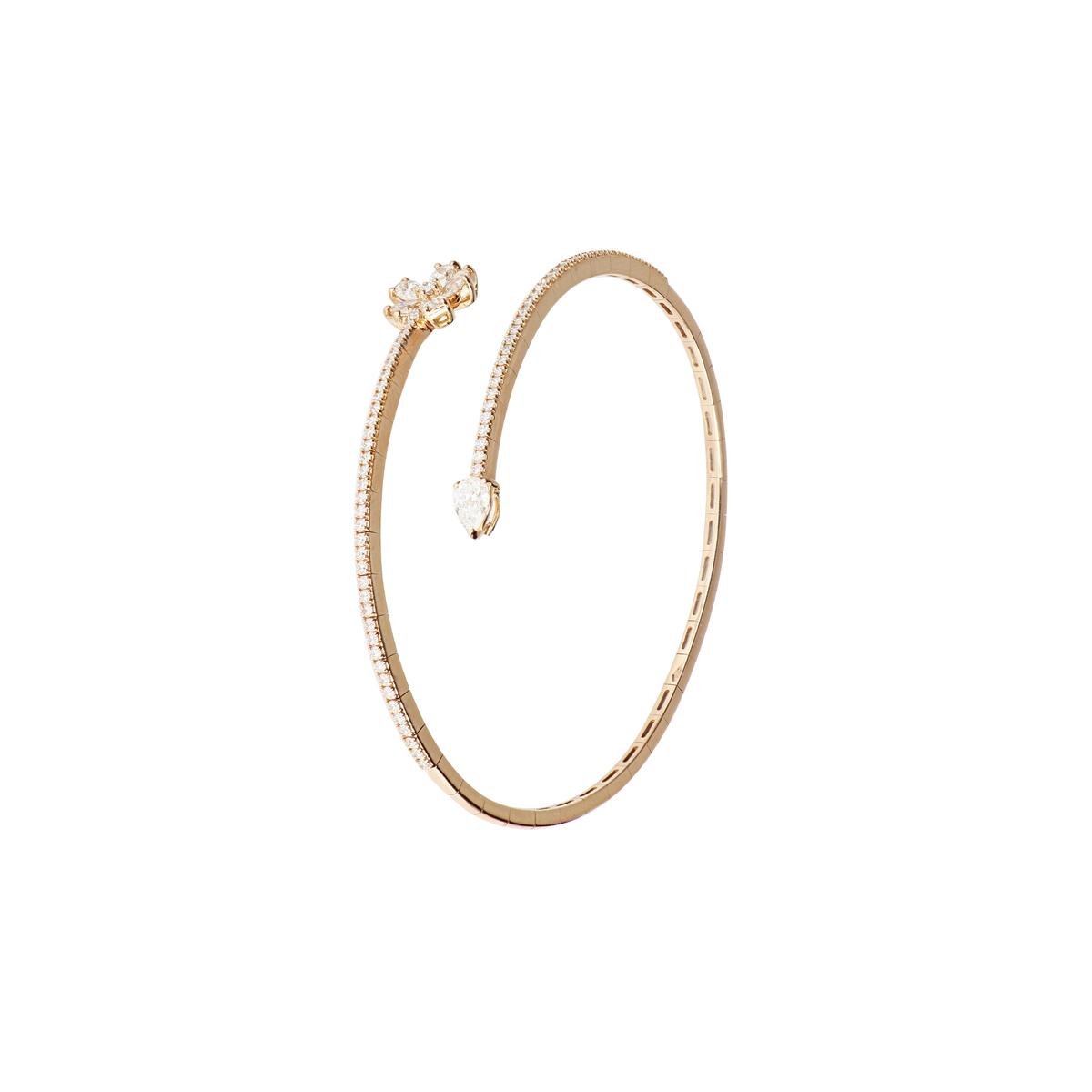 Yellow Gold, Open Cuff Bangle Bracelet with Diamond Flower