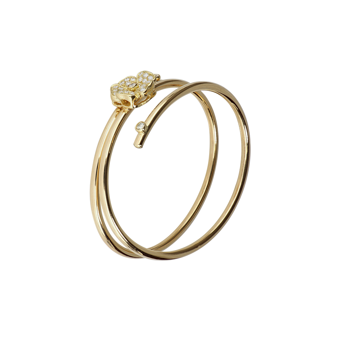 Yellow Gold Spiral Bracelet with Diamond Flower
