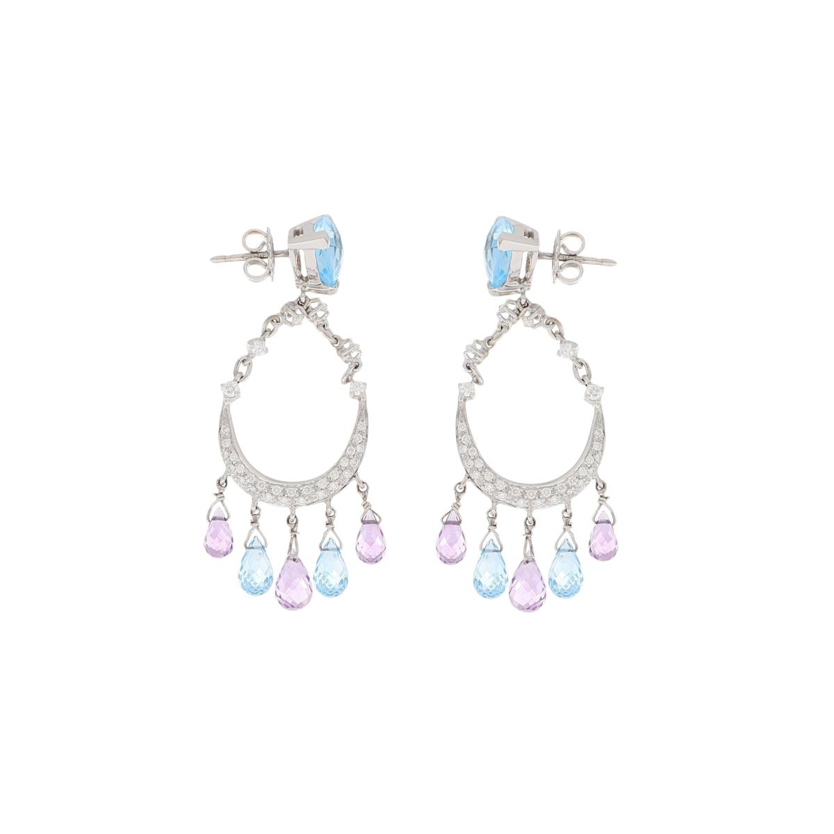 Topaz and Amethyst Chandelier Earrings