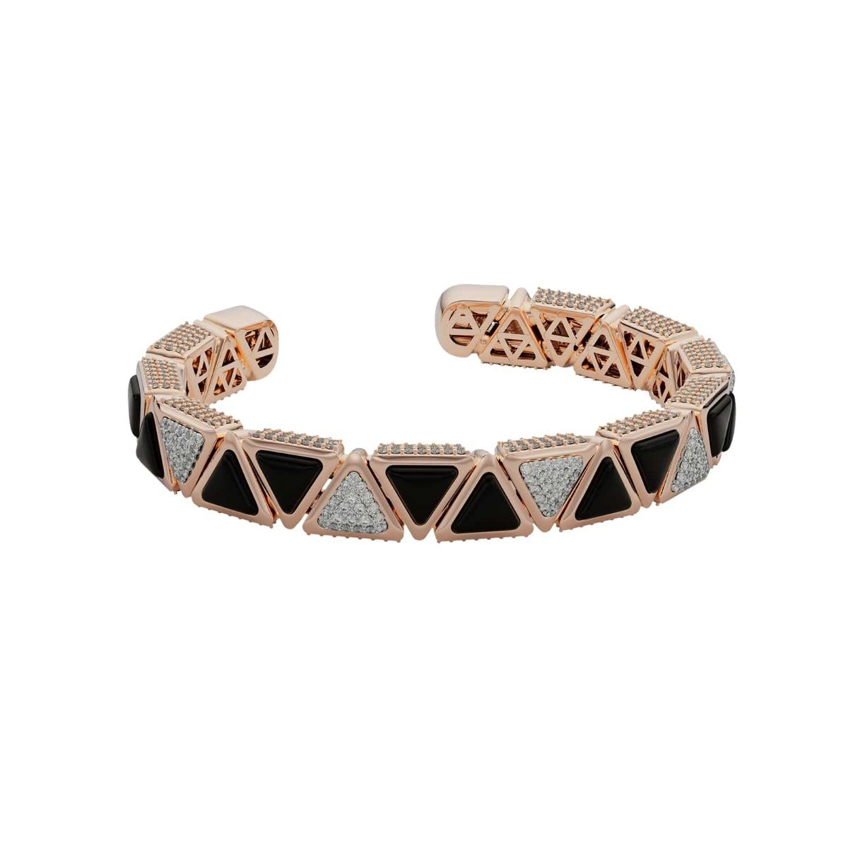 Bracelet BB Mirror Exquisite Rose Gold Onix and Diamonds