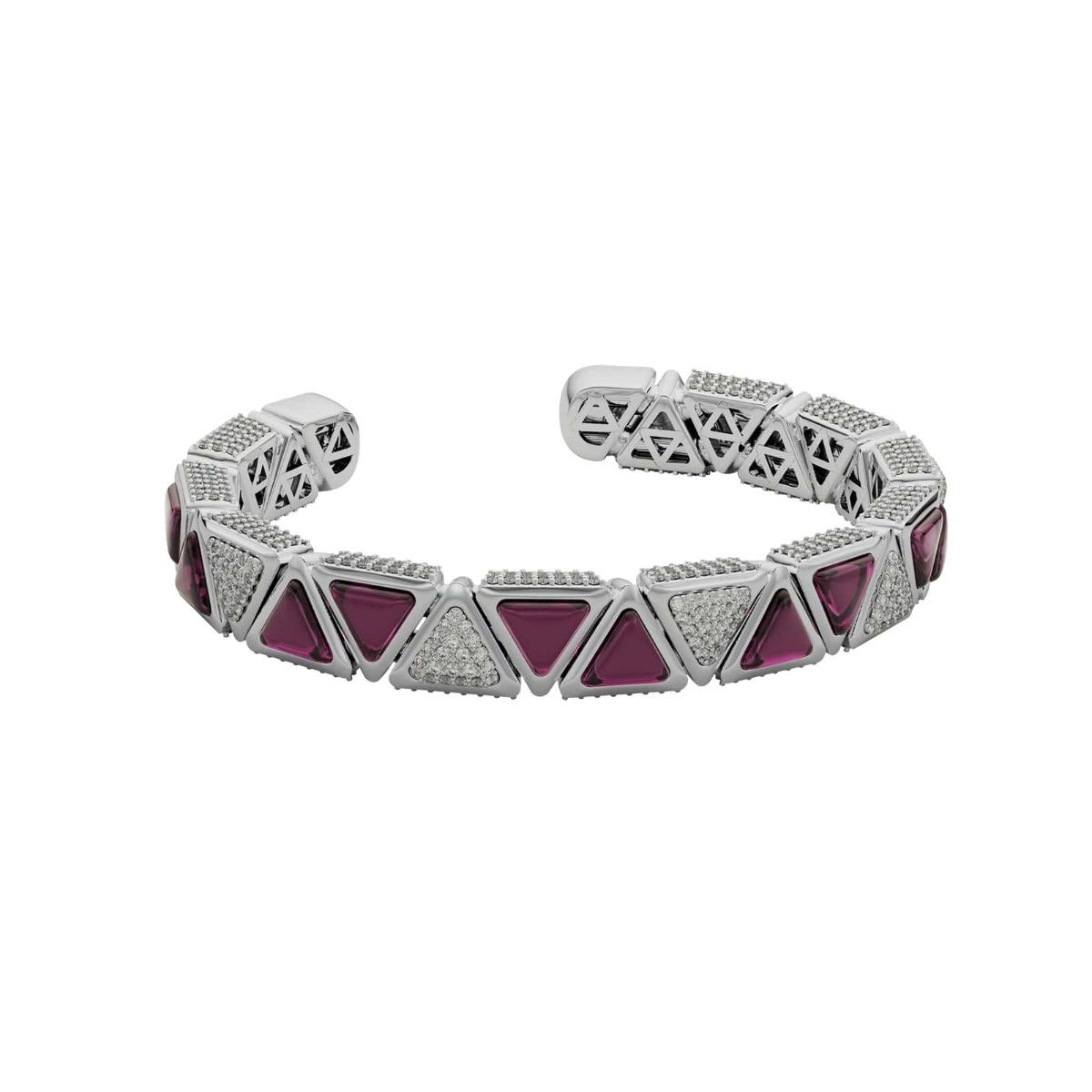 Bracelet BB Mirror Exquisite White Gold Pink Garnet and Diamonds