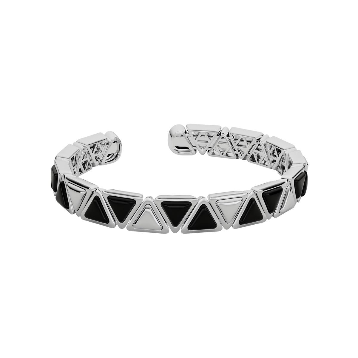 Bracelet Cuff Mirror Gem White Gold Onix