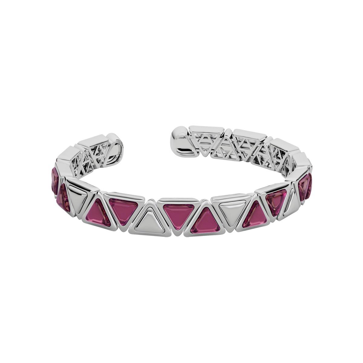 Bracelet Cuff Mirror Gem White Gold Pink Garnet