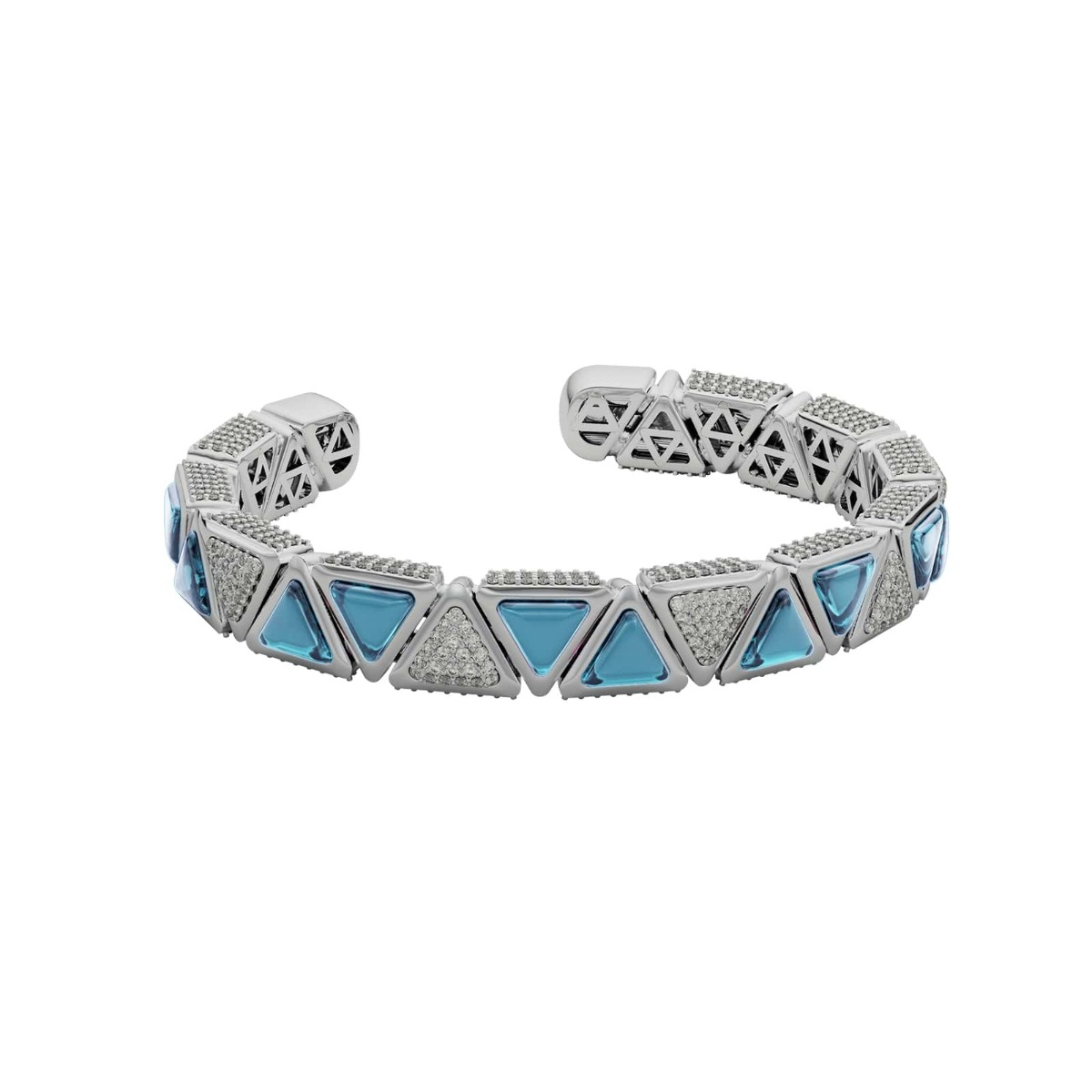 Diamond and Blue Topaz Triangle Bangle Bracelet in 18 Kt White Gold - Mirror Collection