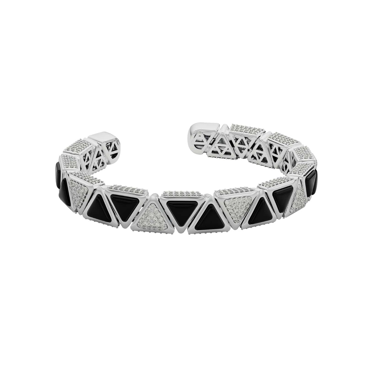 Diamond and Onyx Triangle Bangle Bracelet in 18 Kt White Gold - Mirror Collection