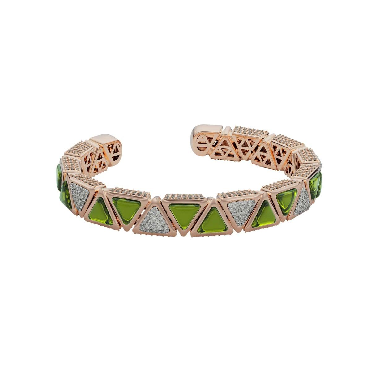Diamond and Tourmaline Triangle Bangle Bracelet - Mirror Collection