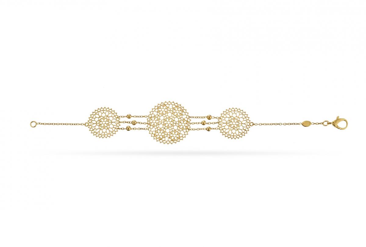 Three Filigree Disc Bracelet in 18Kt Yellow Gold