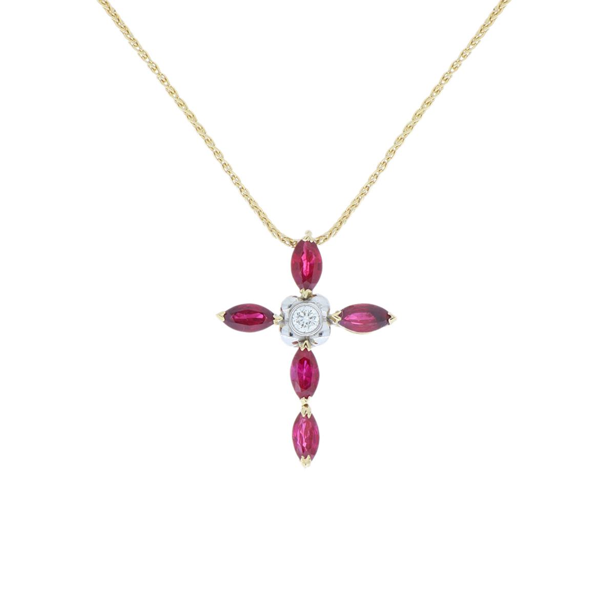 Ruby Cross Pendant Necklace