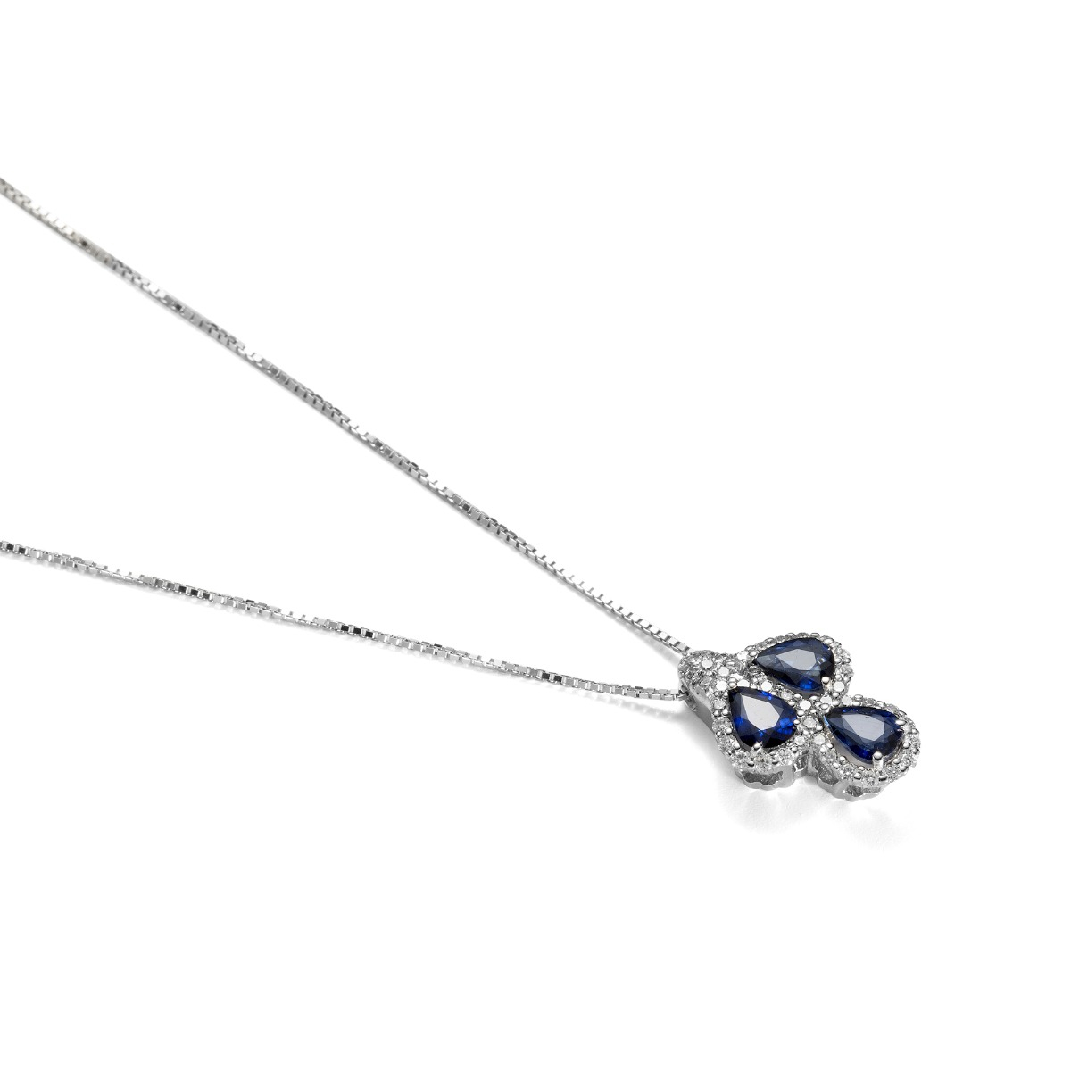 Three-Drop Sapphire Pendant Necklace with Diamonds