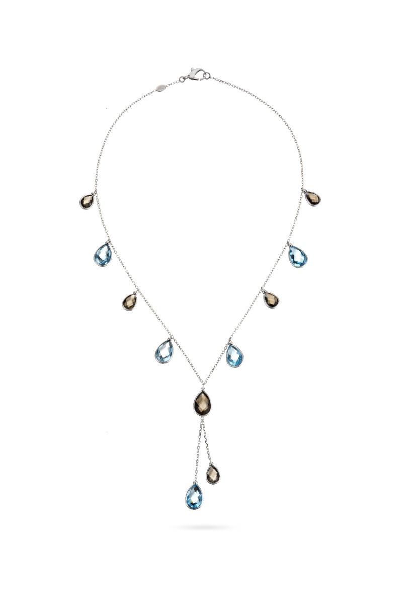 Aquamarine and Topaz Drop Necklace