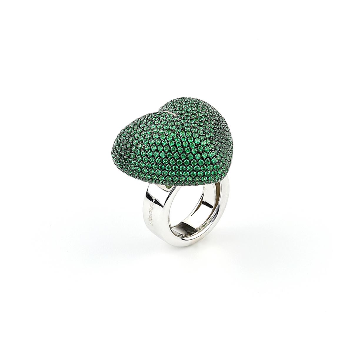 Silver Pavè Heart-Shaped Ring