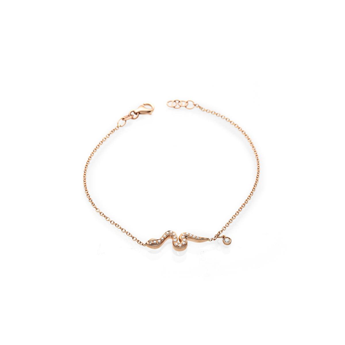 18 Kt Gold Snake Bracelet with Diamonds