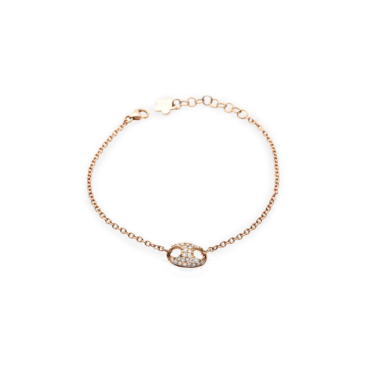 Adjustable 18Kt Gold Chain Bracelet with Diamonds