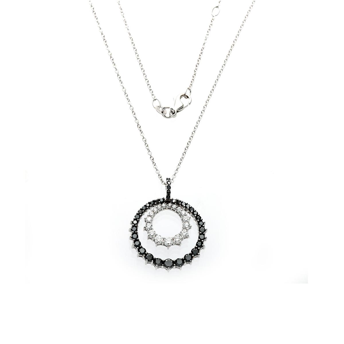 Black and White Diamond Circle Pendant Necklace
