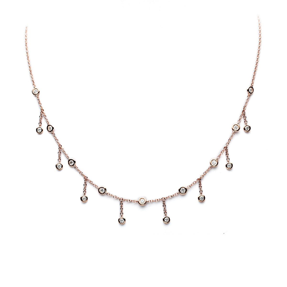 Red Gold Necklace with Fluctuating Round Diamonds
