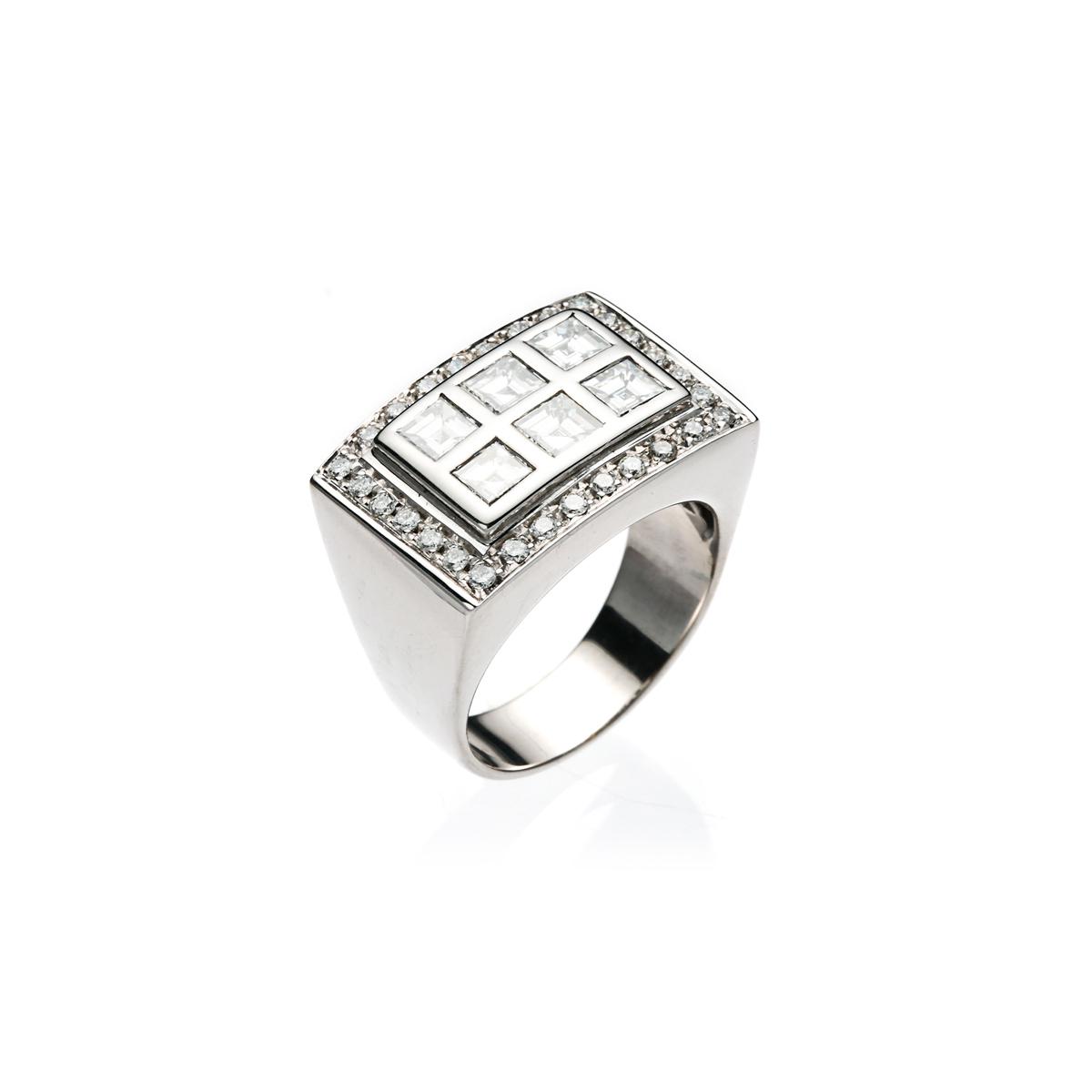 Six Diamond Square Ring