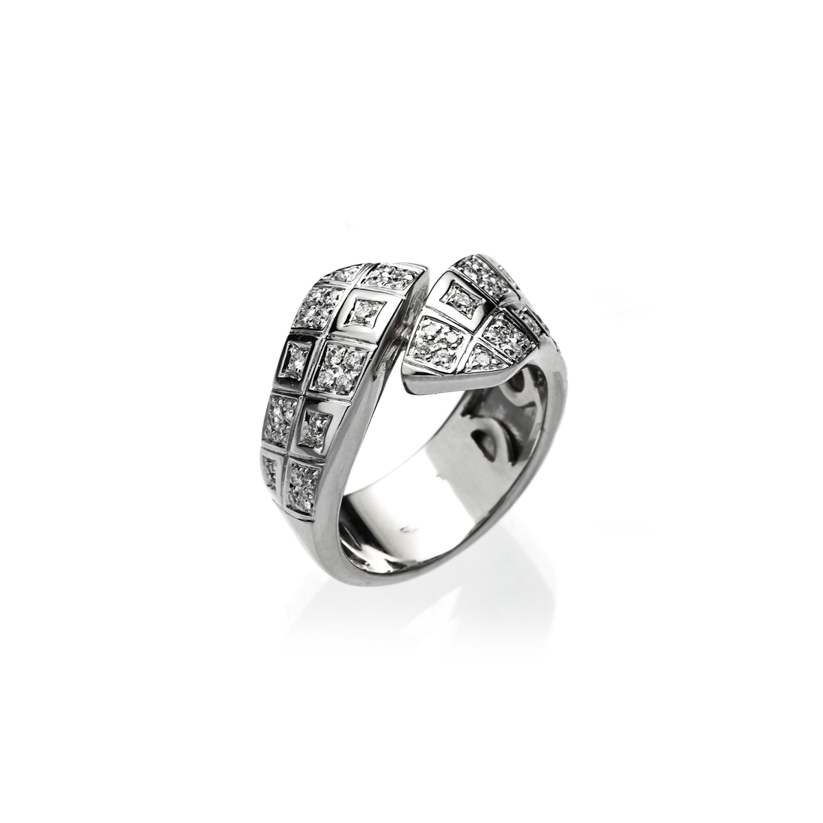 Square Bypass Ring with White Diamonds