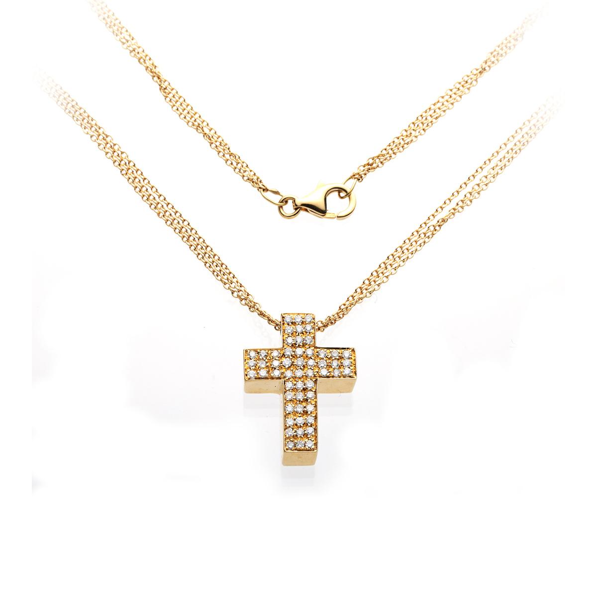 Three-Chain 0.54ct Diamond Cross Pendant Necklace in Yellow Gold