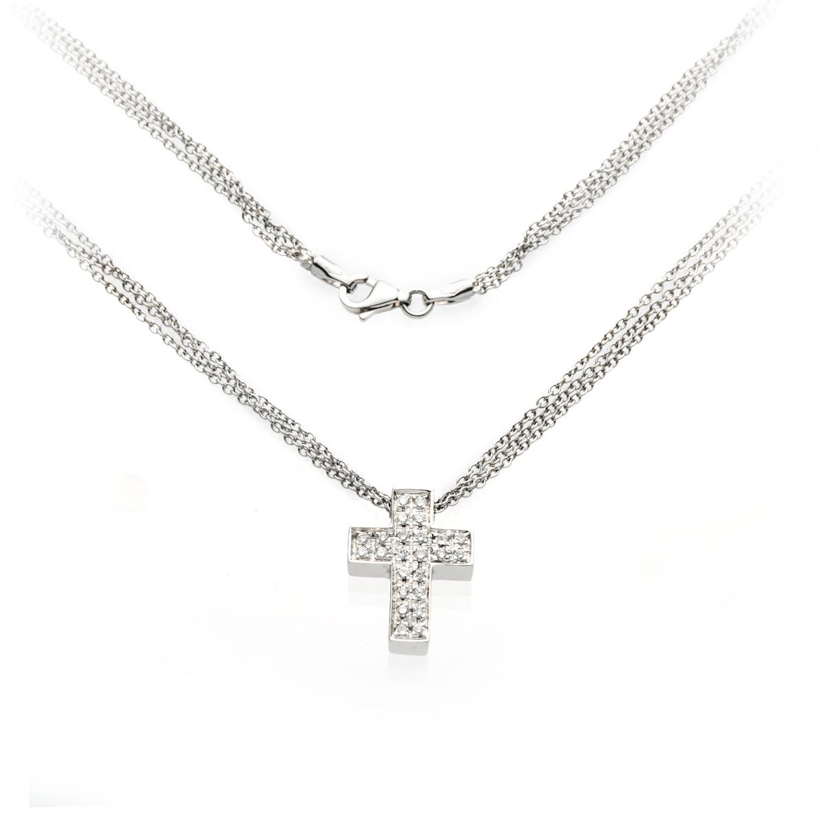 Three-Chain Diamond Cross Pendant Necklace in White Gold