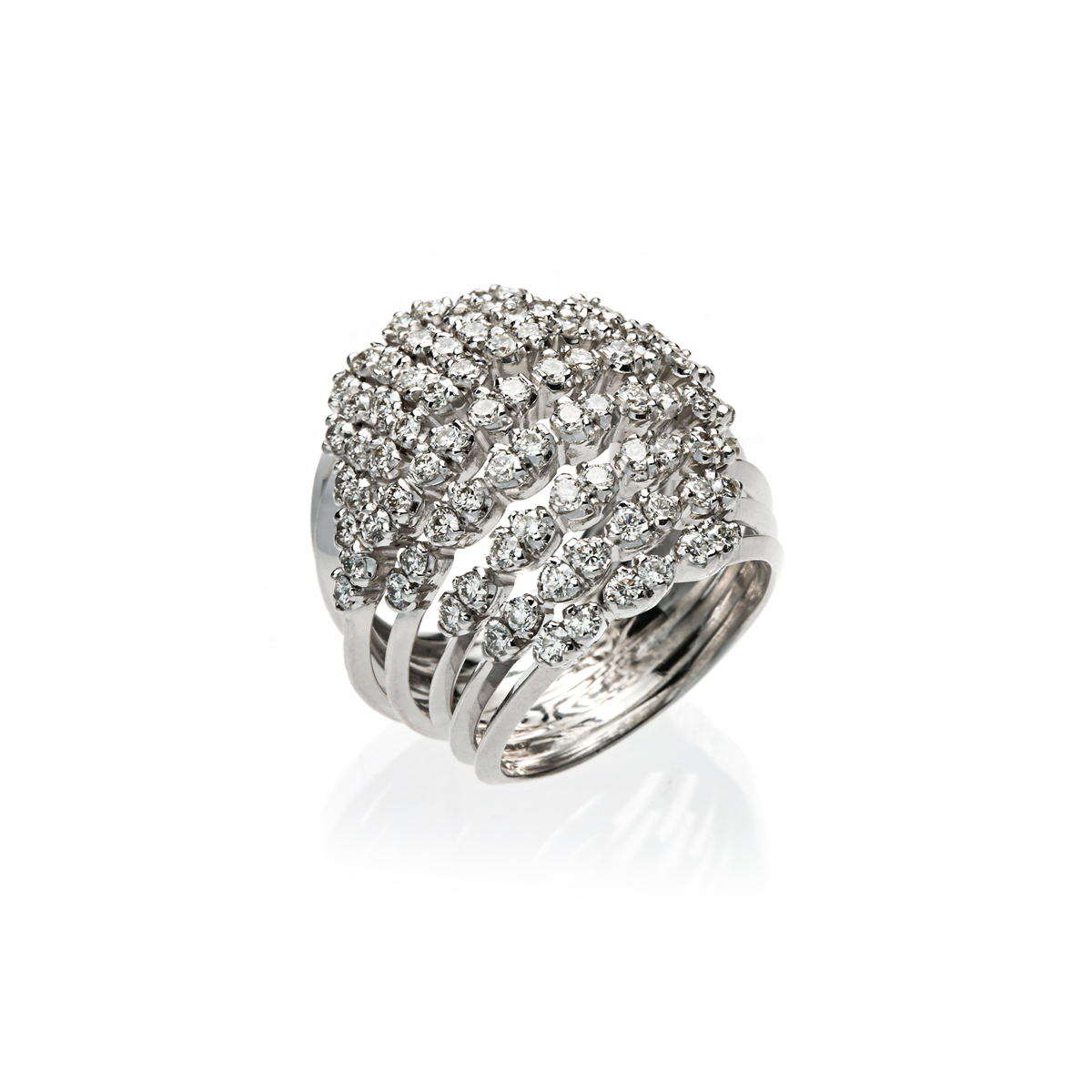White Gold Multi-Band Ring with Diamonds