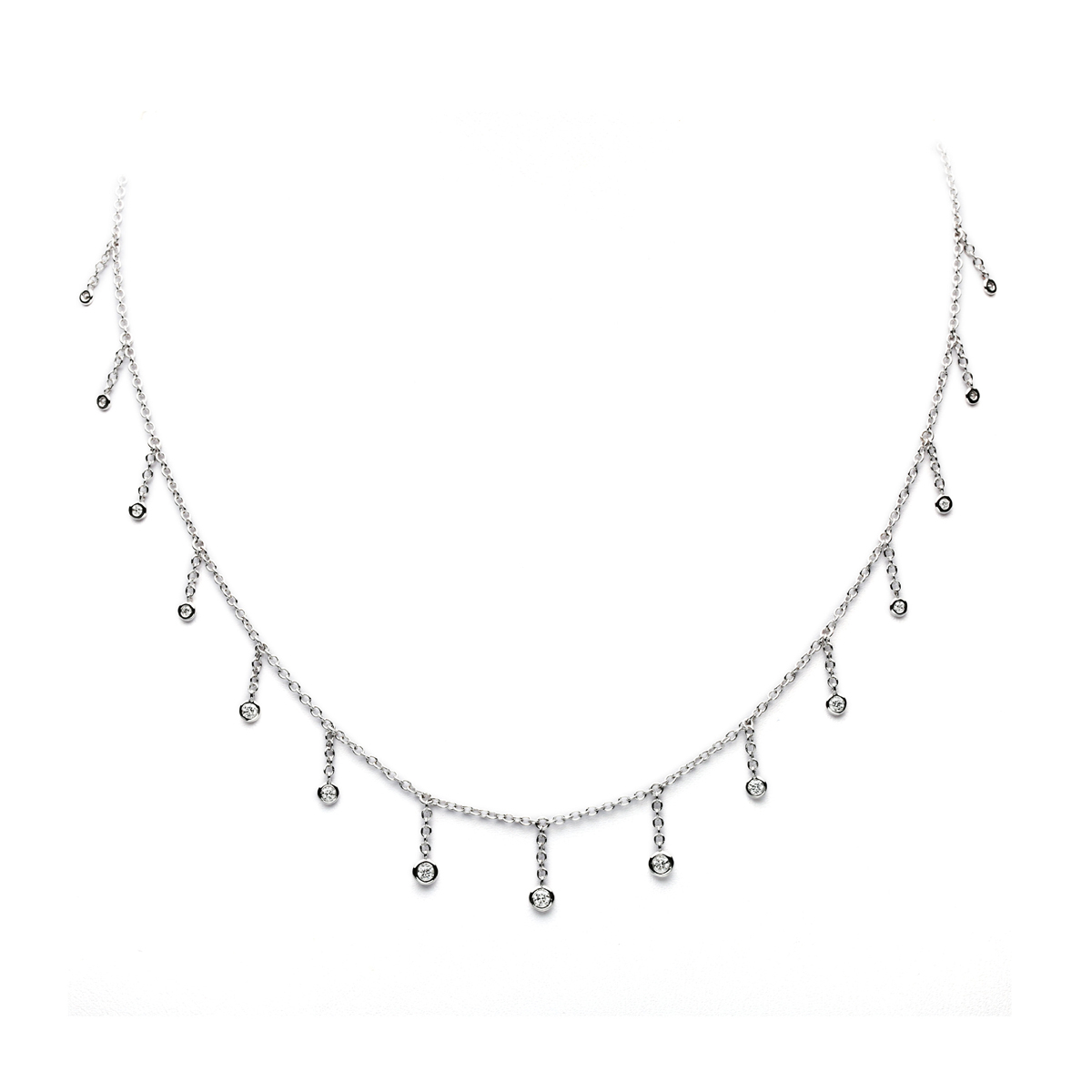 White Gold Necklace with Fluctuating Round Diamonds