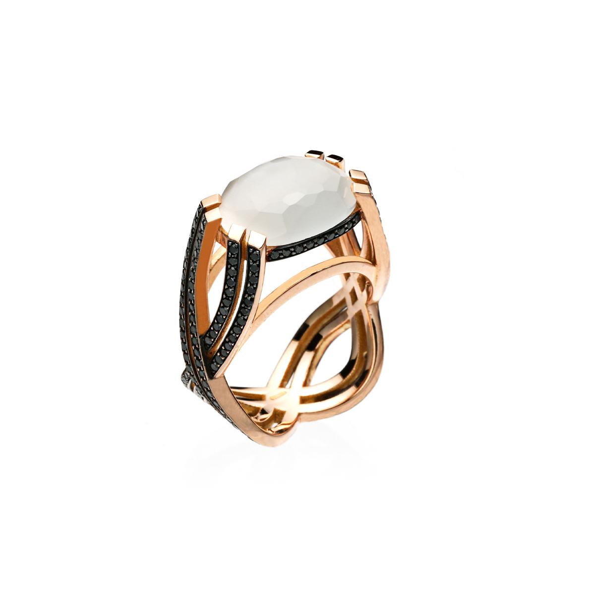 White Quartz Ring with Black Diamonds