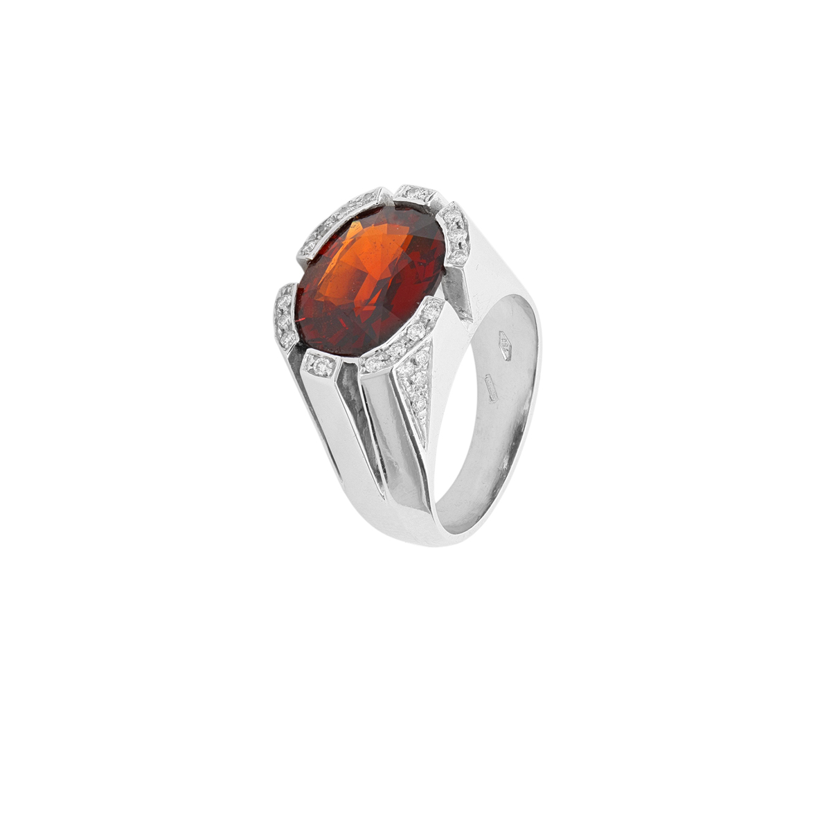 Modern Orange-Red Garnet Ring with Diamonds