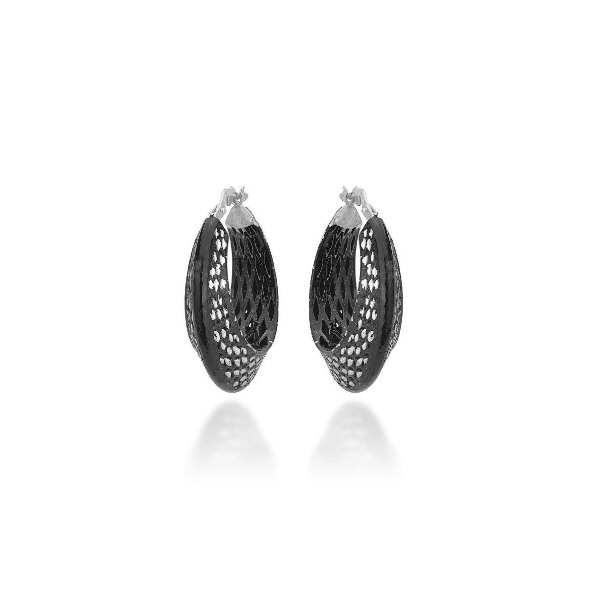 black Silver Diamond Effect Earrings