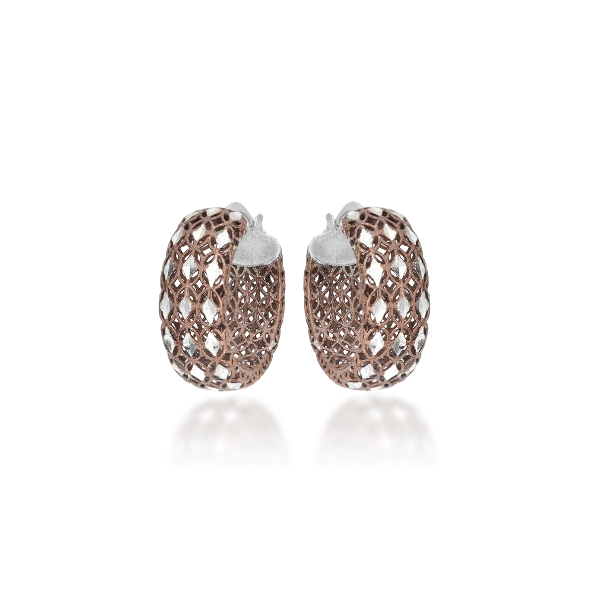 chocolate Rose Silver Earrings