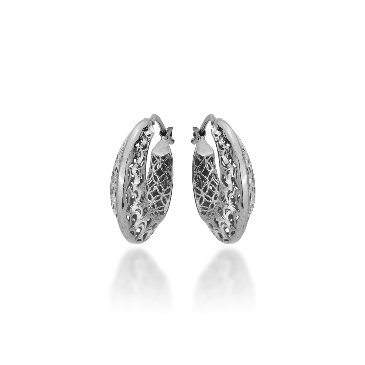 rhodium-plated gold Silver Earrings