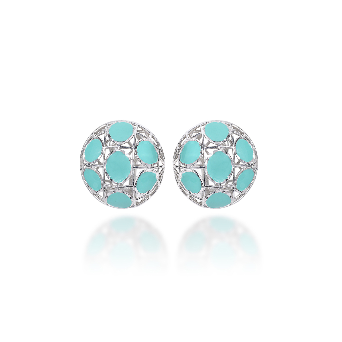 Rhodium-Plated Silver Earrings Turquoise Enamel