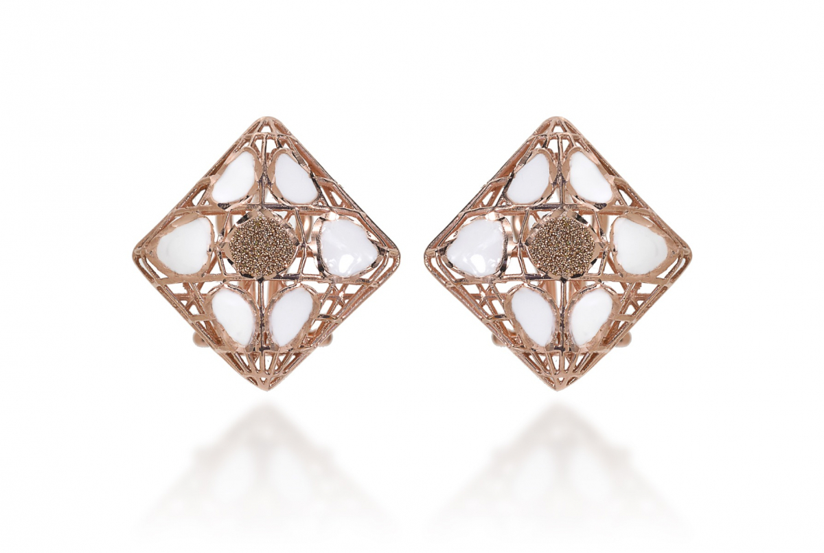 Rosè Silver Earrings with white enamel and diamond paste