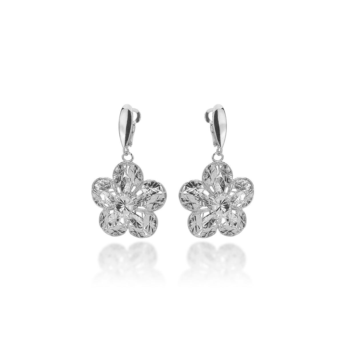 Silver Earrings With Diamonds Effect