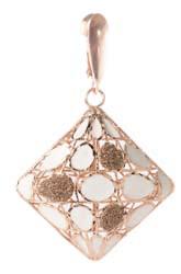 White Enameled Rosè Silver Earrings with diamond paste