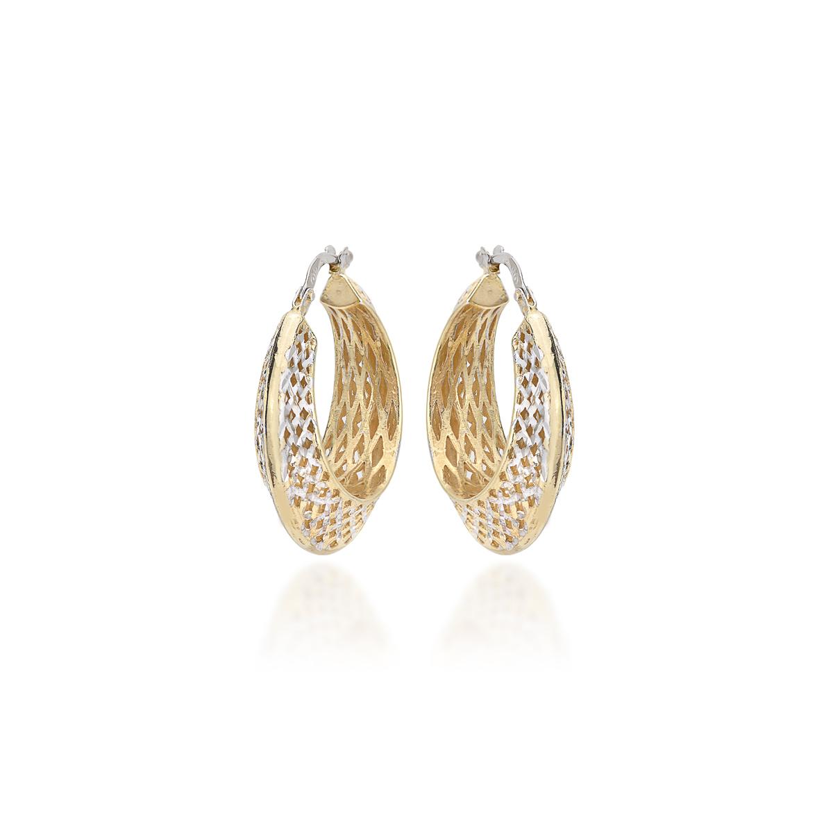 Yellow Silver Diamond Effect Earrings